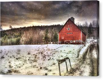 Red Barn In Winter Canvas Print - Grand View Farm - Vermont Red Barn by Joann Vitali