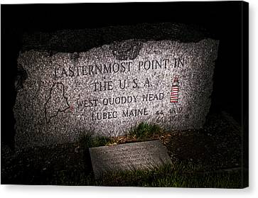 Granite Monument Quoddy Head State Park Canvas Print by Marty Saccone