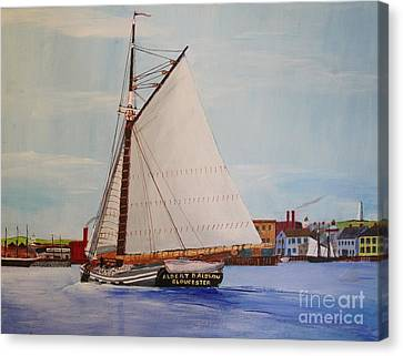 Granite Sloop Albert Baldwin In Boston Harabor 1900 Canvas Print