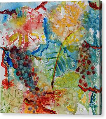 Canvas Print featuring the painting Grape Abstraction by Karen Fleschler