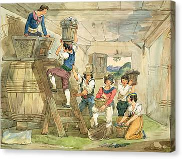 Grape Pickers Canvas Print - Grape-pickers Carrying Grapes To The Press Pen & Ink And Wc On Paper by Achille Pinelli