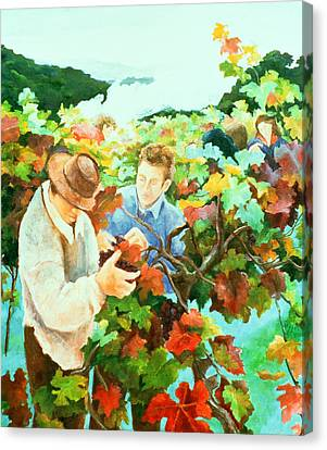 Grape Vines Canvas Print - Grape Pickers by Cristiana Angelini