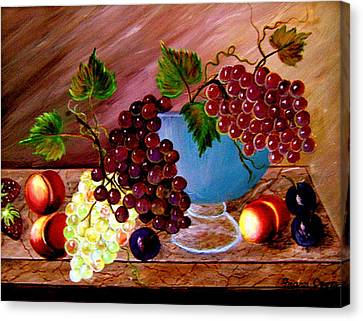 Canvas Print featuring the painting Grapefully Your's by Fram Cama