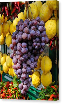 Grapes And Lemons - Fresh Fruit Canvas Print by Matthias Hauser