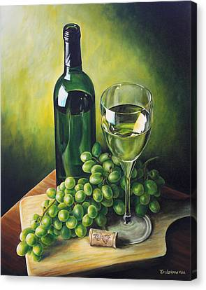 Grapes And Wine Canvas Print by Kim Lockman