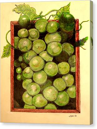 Grapes From A Frame Canvas Print by Joseph Hawkins