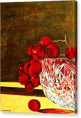 Grapes In A Crystal Bowl Canvas Print by Margaret Newcomb