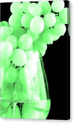 Produce Canvas Print - Grapes In Green Tone by Tommytechno Sweden