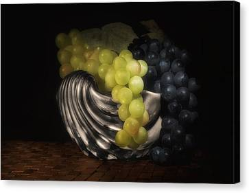 Grapes In Silver Seashell Still Life Canvas Print