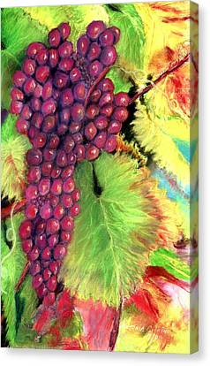 Grapes On Vine Pastel Canvas Print