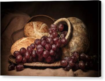 Jugs Canvas Print - Grapes With Bread Still Life by Tom Mc Nemar