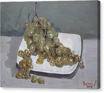 Green Grapes Canvas Print - Grapes by Ylli Haruni