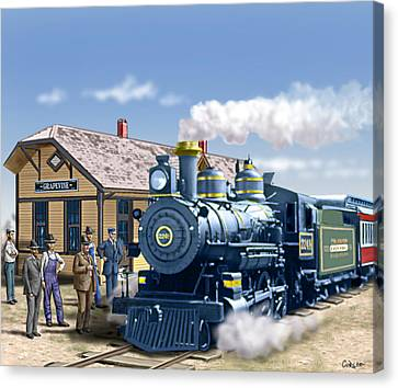 Old Grapevine Train Station Texas - Vintage - Old Canvas Print