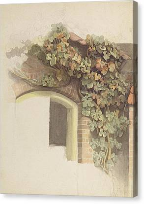 Grapevines On A Brick House, 1832 Pencil And Wc On Paper Canvas Print by Johann Martin Gensler