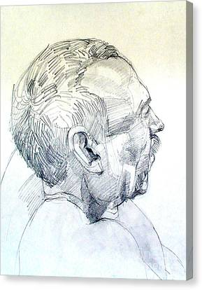 Canvas Print featuring the drawing Graphite Portrait Sketch Of A Man In Profile by Greta Corens
