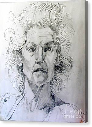 Canvas Print featuring the drawing Graphite Portrait Sketch Of A Well Known Cross Eyed Model by Greta Corens