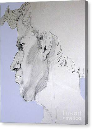 Canvas Print featuring the drawing Graphite Portrait Sketch Of A Young Man In Profile by Greta Corens