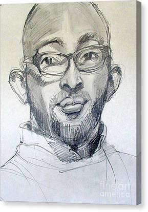 Canvas Print featuring the drawing Graphite Portrait Sketch Of A Young Man With Glasses by Greta Corens