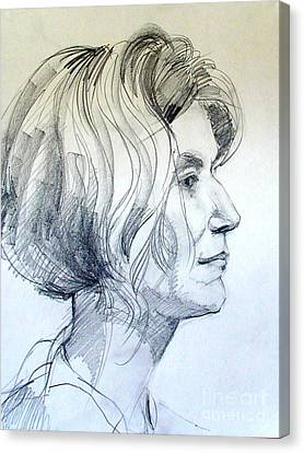Portrait Drawing Of A Woman In Profile Canvas Print by Greta Corens