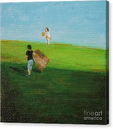 Grass Sledding  Canvas Print by Amber Woodrum