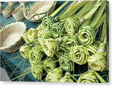 Grass Woven Roses For Sale At Market Canvas Print