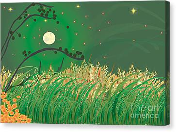 Canvas Print featuring the digital art Grasses In The Wind by Kim Prowse
