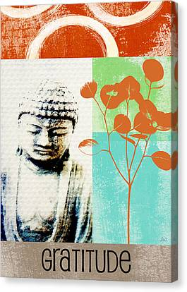 Thank Canvas Print - Gratitude Card- Zen Buddha by Linda Woods