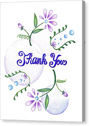 Canvas Print featuring the drawing Gratitude by Keiko Katsuta