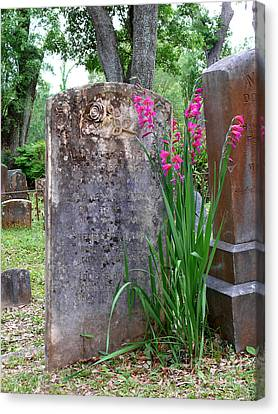 Canvas Print featuring the photograph Grave Stone With Pink Flowers by Jeanne  Woods