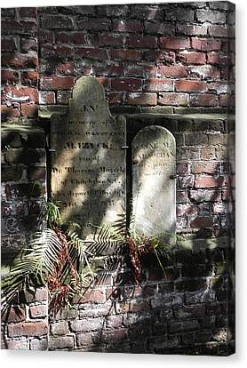 Grave Stones With Fern Canvas Print by Patricia Greer