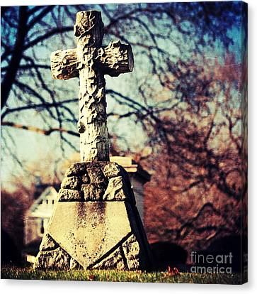 Gnarly Canvas Print - Grave With Cross by HD Connelly