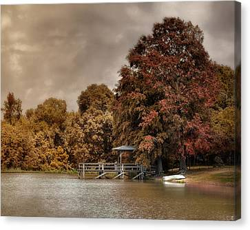Graves Pond In Autumn Canvas Print by Jai Johnson