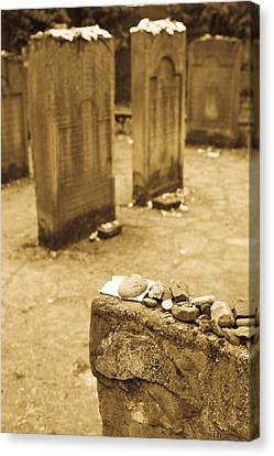 Gravestone At Old Jewish Cemetery Canvas Print