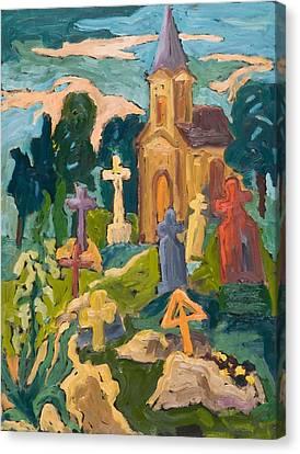 Graveyard And Chapel, 2005 Oil On Board Canvas Print by Marta Martonfi-Benke