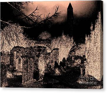 Graveyard At Night Canvas Print by Tim Townsend