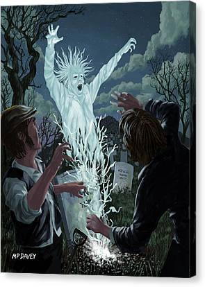 Ghost Story Canvas Print - Graveyard Digger Ghost Rising From Grave by Martin Davey