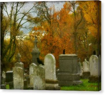 Graveyard In Fall Canvas Print by Gothicrow Images
