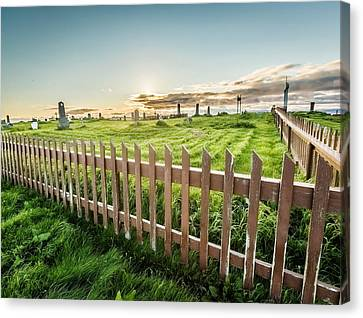 Graveyard On Flatey Island Canvas Print by Panoramic Images