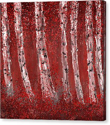 Gray And Red Birch Trees- Marsala Art Canvas Print by Lourry Legarde