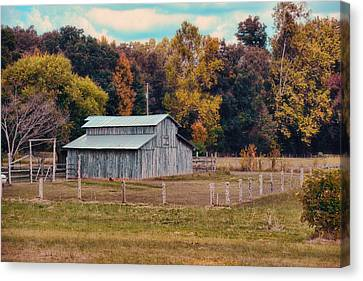 Gray Barn In Autumn Canvas Print by Jai Johnson