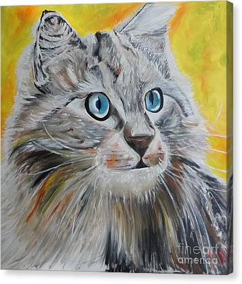 Gray Cat Canvas Print by PainterArtist FIN
