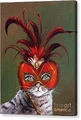 Gray Cat With Venetian Mask Fairy Tale Canvas Print