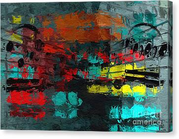 Canvas Print featuring the digital art Gray Green Intermezzo by Lon Chaffin