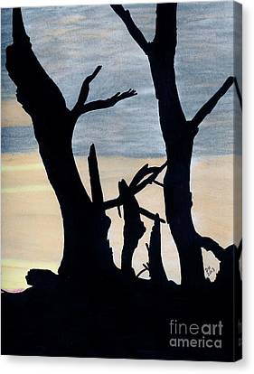 Canvas Print featuring the drawing Gray Sunset by D Hackett