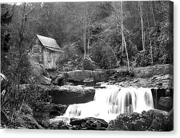 Grayscale Mill And Waterfall Canvas Print