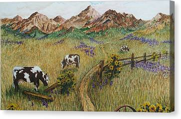 Grazing Cows Canvas Print by Katherine Young-Beck