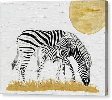 Canvas Print featuring the painting Grazing Together by Stephanie Grant