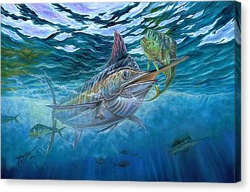 Great Blue And Mahi Mahi Underwater Canvas Print