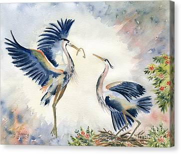 Great Blue Heron Couple Canvas Print by Melly Terpening