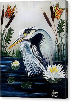 Great Blue Heron Happiness Canvas Print by Adele Moscaritolo